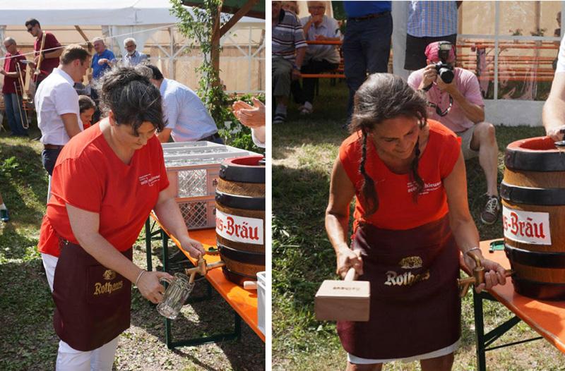 Gekonnter Fassanstich beim Ühlinger Dorffest
