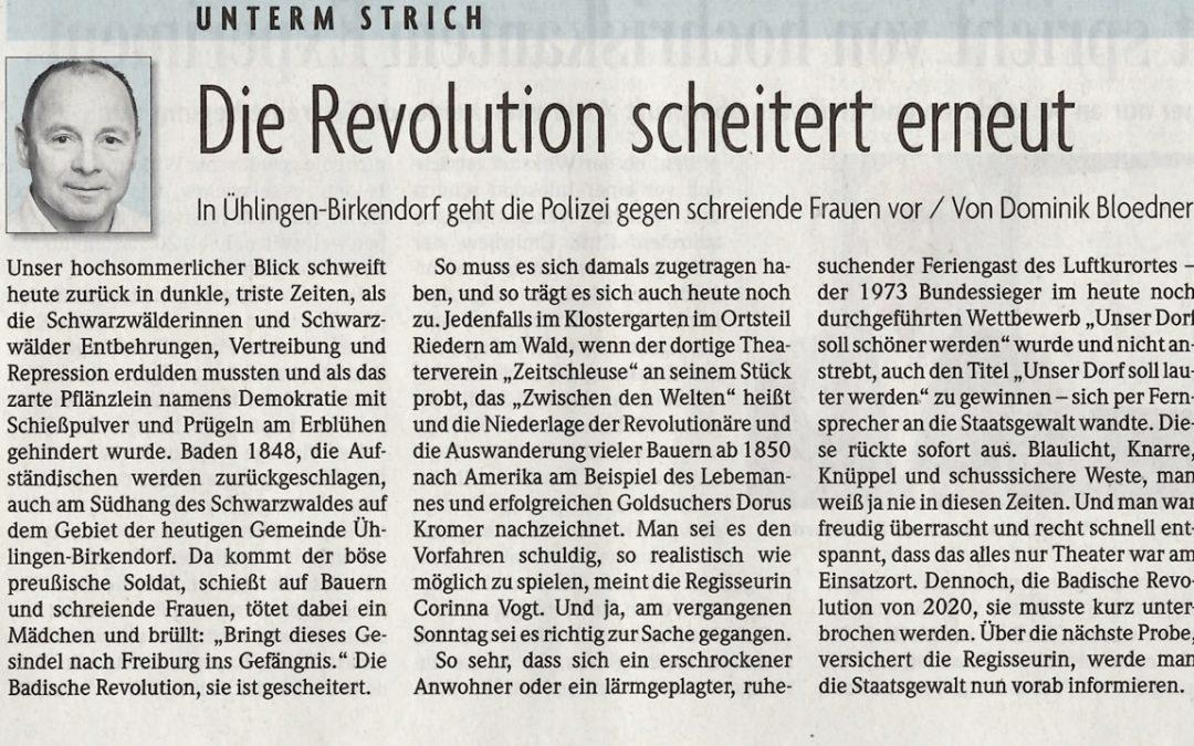 Badische Zeitung – Titelseite, 12. August 2020