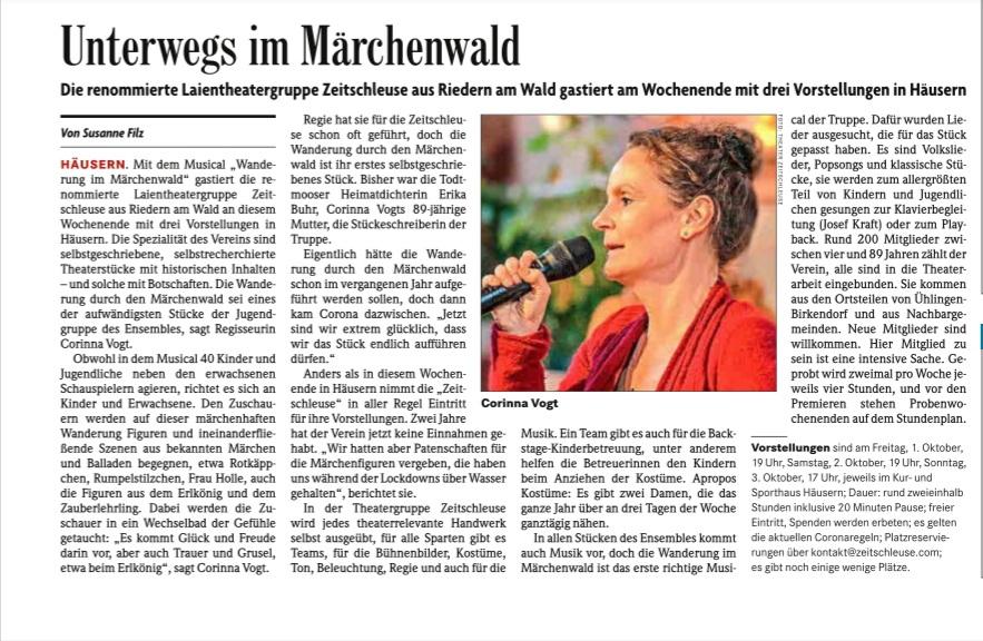 Badische Zeitung, 1. Oktober 2021